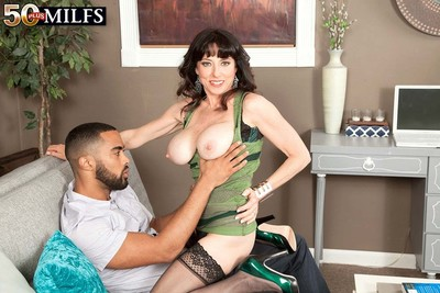Hot wild milf karen kougar fucking her slit with hard dick