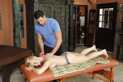 Busty cougar Sara Vandella giving younger hunk of a man a blowjob
