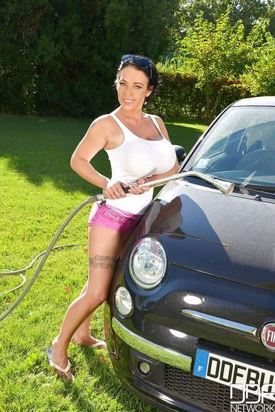Mammoth tits get wet and soapy as princess Delzangel washes a car outside