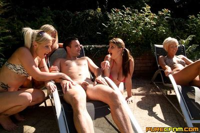 Caught sleeping undressed in the pool, four princesses help themselves to his cock