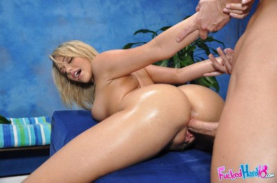 Blonde teenager Mia having watertight Young year old tits oiled and massaged