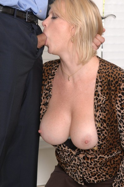 Busty blonde mama in  copulates