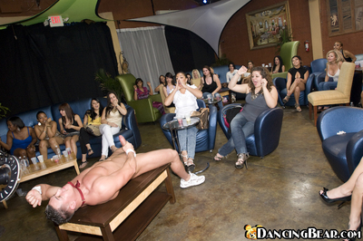 Wild chicks getting 10-Pounder crazy at the CFNM party with malestrippers