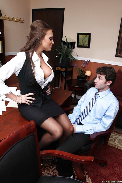 Crazy about jocks Nika Noire with big tits is drilled at work