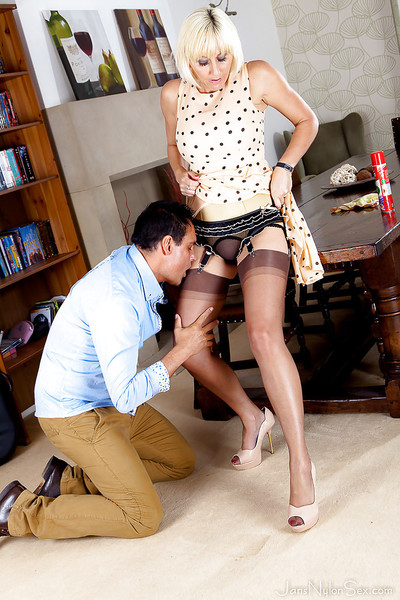 Lewd mature golden-haired in  has some a-hole licking having benefit from with a naughty chap