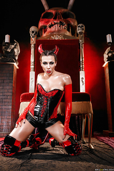 Kinky cosplay sample Rachel Starr modeling naughty latex uniform and boots