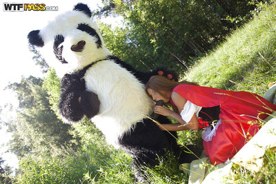 Pretty teen with enormous tits has a hardcore act of love with panda toy outdoor