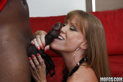 Mature cock swallower with big boobs Darla Crane has interracial anal sex