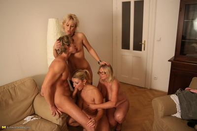 One lucky dude and three passionate mature prostitutes