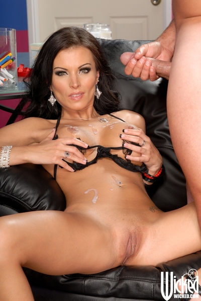 Extreme MILF in lacey lingerie Bailey Brooks receives her shaved wet crack drilled