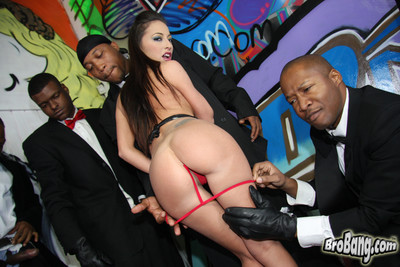 Veronica jett gives head to a lot of ebony boys in suits