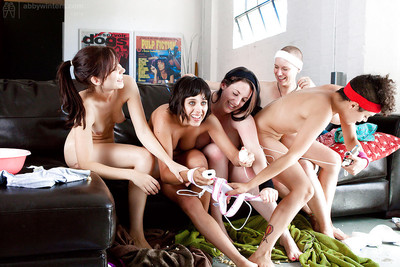 Geeky dears flashing hairy pussies in extreme lesbian groupsex group sex