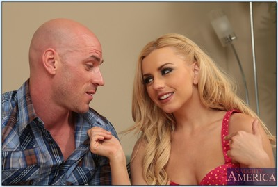 Elegant golden-haired hotty Lexi Belle gets a facial later hardcore smoking