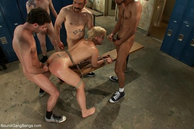 Dylan ryan gets gangbanged in the locker room by 5 gentlemen