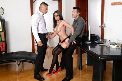 Beautiful secretary Julia D Lucia giving blowjob although getting fucked