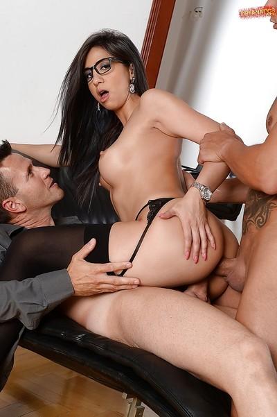 Beautiful secretary Julia D Lucia giving blowjob although getting fucked