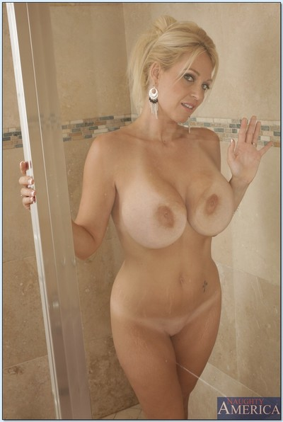 Charlee Chase is milf babe who loves stretching her legs in hot bathroom