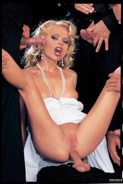Classic pornstar dora venter fucked in group in all holes