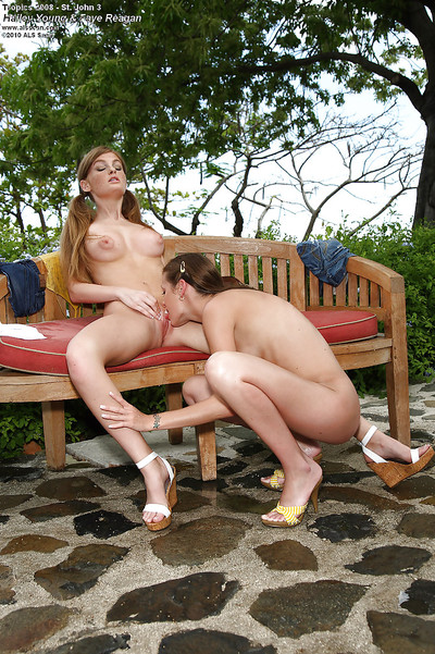 Marvelous adolescent pretties are into sensual lesbian action outdoor