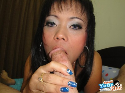 Thai brunette gets her face and cunt fucked