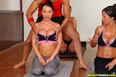 CFNM scene with lewd milf Jewels Jade bends over into rough reality gangbang