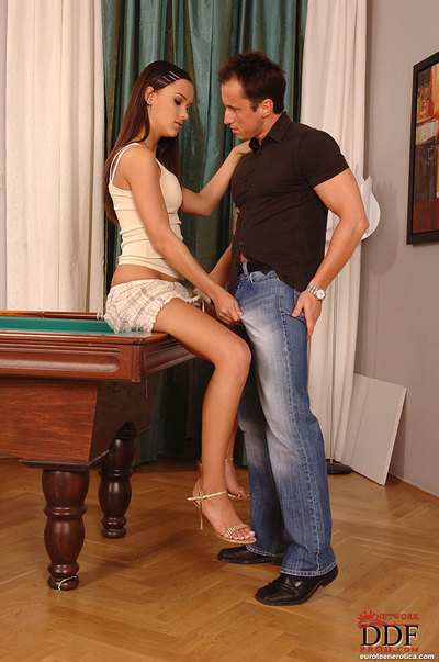 European youthful Victoria Sweet takes her skirt up to feel a dick interior