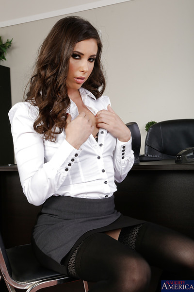 Frisky office hottie undressing and spreading her nylon clothes legs
