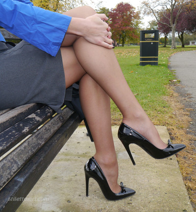 Moist golden-haired milf monica shows off her hot legs and shiny black st