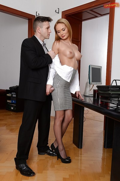 Titsy secretary Kery Miller swallows cum from two co-workers