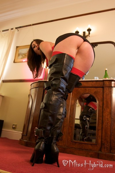 Thigh high boots and red leather gloves