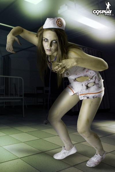 Cosplay featuring walking dead zombie in nurse uniform naked