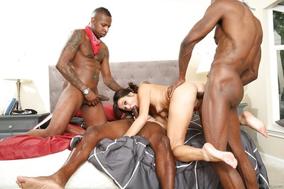 Gangbang act with a wonderful Asian milf Cece Stone and black men