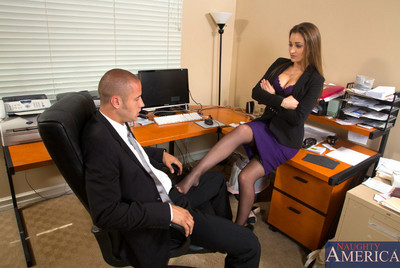 Dani Daniels punishes her worker then resolves to make him punish her pussy and have damp sex at work.