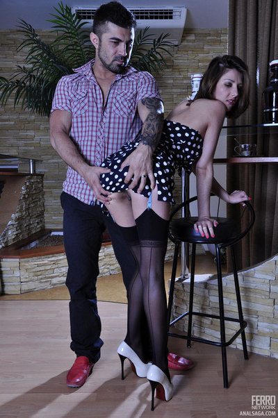 Leggy stunner in a polka-dot dress and FF stockings enjoys intense wazoo plowing