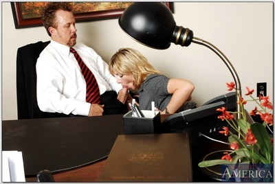 Busty secretary Velicity Von gets her moist cage of love dug in the office