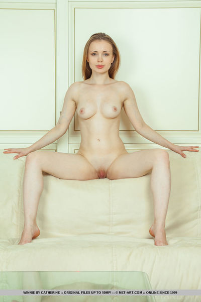 Teen solo lass with perky milk sacks shedding underwear to disclose hairless pussy