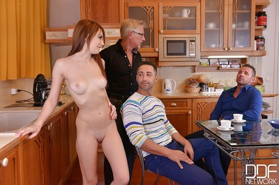 Redhead Timea Bela taking in cock and lick balls in advance of blowbang in kitchen