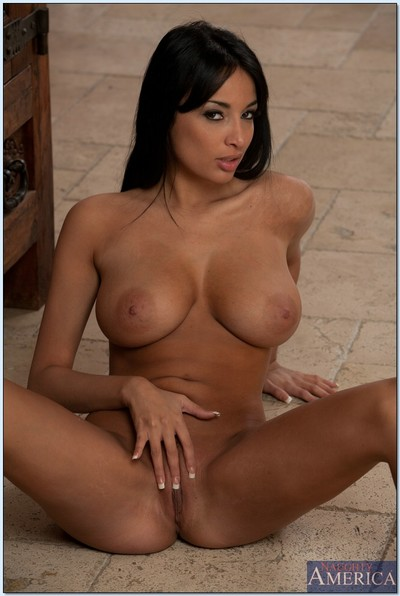 Delicious brunette pretty Anissa Kate slipping off her dress and panties