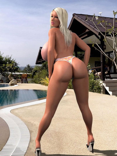 Seductive 3d babe with perspired largest boobs undresses and positions by pool