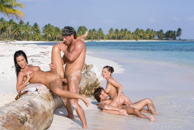 Sexual act starved brunettes yvonne peach and tera slave get dual dicked on the beach