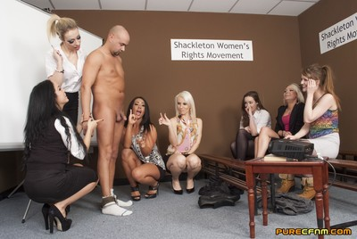 The Womens Rights Group is in the middle of their monthly meeting when a male chauvinist pig accidentally stumbles in. He was looking for a different room but isnt going to waste the chance to make enjoyment of them. He says womens activists like  are pro