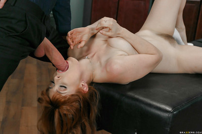 Redhead patient Penny Pax takes big ejaculation in mouth from her doctor