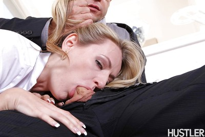 European blonde Natasha Starr deepthroating cock in pigtails
