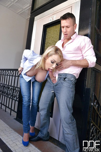 Chesty Euro blonde Chessie Kay tit fucking and giving bj in denim jeans
