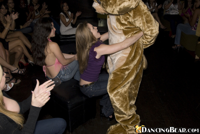 Coed party goes wild with a dancing bear and untamed girls action blowjobs