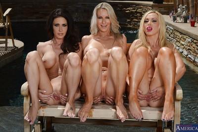 Three hardcore girl-on-girl milfs undressing bikini and expanding pussies