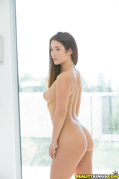 Big tit brunette Eva showing her marvellous body and ass