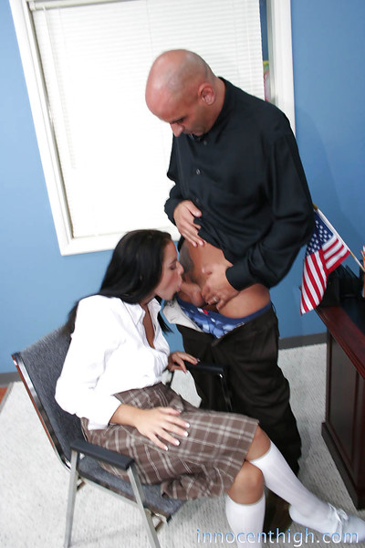 European brunette Natasha orally fixating that huge intense cock in the office