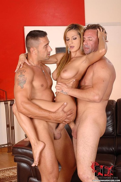 Euro chick Alice Romain deepthroats cock ahead of hardcore DP in MMF threeway