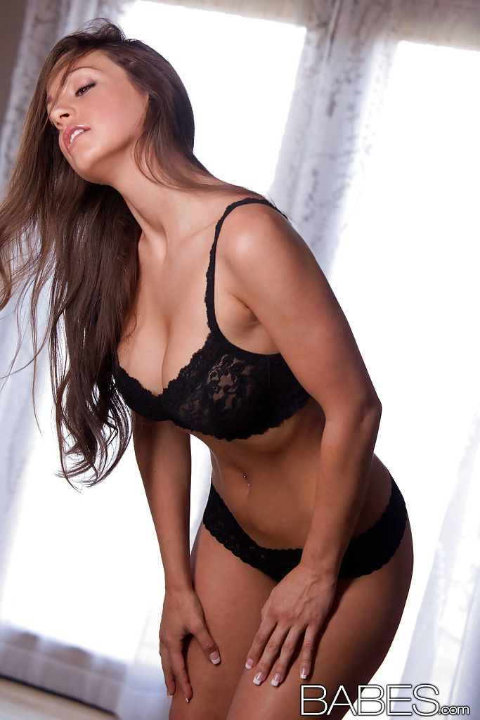 Amazingly extreme dark brown entrancing off her lacy underware and stretching her legs